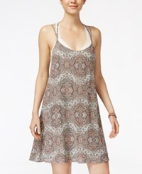 Pretty Rebellious Juniors' Printed Shift Dress With Lace Bra Ivory Coral
