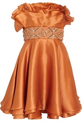 Mikael Aghal Embellished Silk Shantung Dress