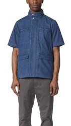 Shades Of Grey Short Sleeve Safari Jacket Vintage Blue Washed Denim