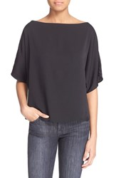 Women's Milly Stretch Silk Bateau Tee Black