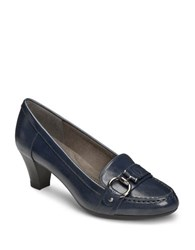 Aerosoles Seashore Leather Pumps Navy Blue