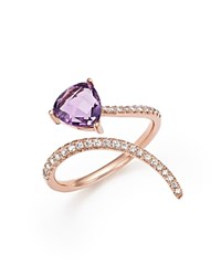 Bloomingdale's Diamond And Amethyst Open Swirl Ring In 14K Rose Gold
