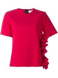 Msgm Ruffle Side Blouse Pink And Purple
