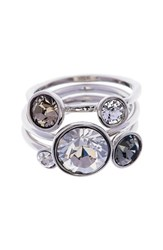 Women's Ted Baker London 'Jackie' Crystal Stacking Rings Grey Multi Silver Set Of 3