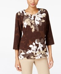 Alfred Dunner Santa Fe Collection Floral Print Crew Neck Top Multi