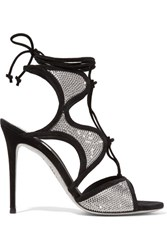 Rene Caovilla Crystal Embellished Satin And Suede Sandals Black