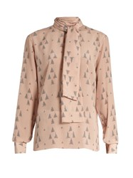 Valentino Triangle Print Georgette Blouse Light Pink