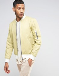 Asos Bomber Jacket With Sleeve Zip In Buttermilk With Ecru Rib Stone