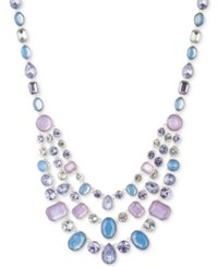 Nine West Silver Tone Multi Crystal And Stone Layer Collar Necklace