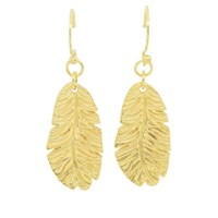 Essentia By Love Lily Rose Feather Drop Earrings Gold