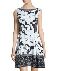 Maggy London Sleeveless Printed Dress Clear Sky