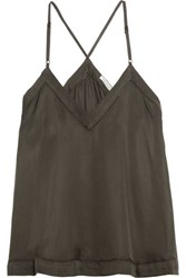 Etoile Isabel Marant Veni Pointelle Trimmed Satin Camisole Army Green