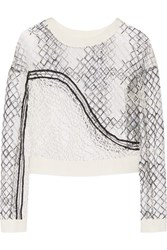 Jonathan Simkhai Faille Paneled Embroidered Tulle Top Ivory
