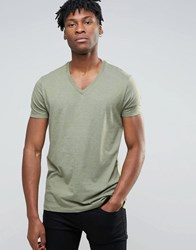 Asos Relaxed Fit T Shirt In Green Marl With V Neck Deep Lichen Grn Marl