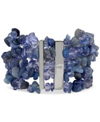Kenneth Cole New York Silver Tone Blue Chip Beaded Multi Row Stretch Bracelet