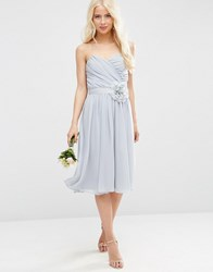 Asos Wedding Chiffon Bandeau Midi Dress With Detachable Corsage Silver Grey