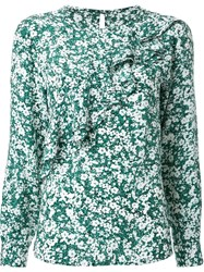 Dresscamp Ruffled Floral Print Blouse Green
