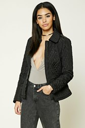 Forever 21 Quilted Collared Jacket Black