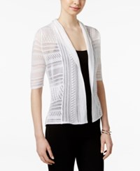 Ny Collection Open Front Elbow Sleeve Cardigan White