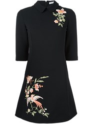 Vivetta Floral Embroidery Flared Dress Black