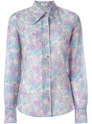 Manoush Floral Print Shirt Pink And Purple