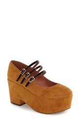 Shellys Women's London Wakefield Platform Mary Jane Brown Suede