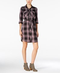 G.H. Bass And Co. Plaid Shirtdress Black Plum Gem Combo