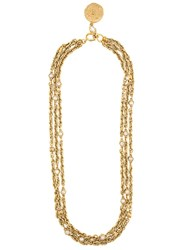 Chanel Vintage Coin Pendant Necklace Metallic
