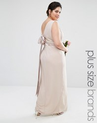 Tfnc Plus Wedding Wrap Front Maxi Dress With Wrap Skirt And Bow Back Nude Pink