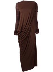 Rick Owens Lilies Draped Maxi Dress Brown