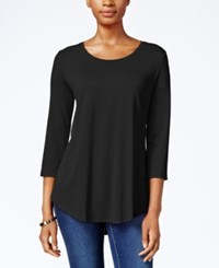 Jm Collection Three Quarter Sleeve Scoop Neck Top Only At Macy's Deep Black