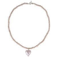 Martick Murano Heart Charm Pearl Necklace Pink
