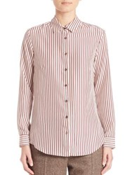 Max Mara Fedora Silk Striped Shirt Bordeaux