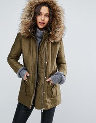 Miss Selfridge Luxe Satin Parka Green
