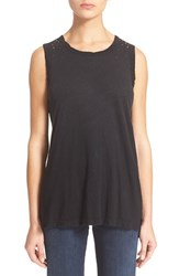 Women's Current Elliott 'The Muscle Tee' Sleeveless Top Black Beauty With Studs
