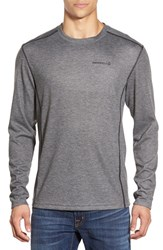 Men's Merrell 'Geom' Moisture Wicking Long Sleeve T Shirt Granite Heather Black