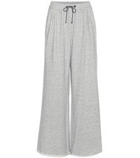 Brunello Cucinelli Embellished Cotton Wide Leg Track Pants Grey