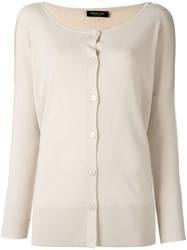 Twin Set Ribbed Detail Loose Fit Cardigan Nude And Neutrals