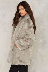 Panic On The Streets Faux Fur Coat Silver