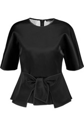 Raoul Tayla Tie Front Satin Top Black