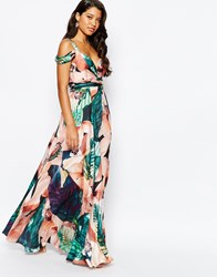 Forever Unique Sweetheart Maxi Dress With Could Shoulder Floral Print