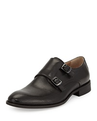 Robert Wayne Ansel Perforated Double Buckle Slip On Black