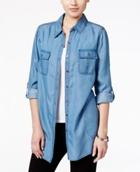 Styleandco. Style Co. Denim Front Pocket Tunic Shirt Only At Macy's Sun Wash