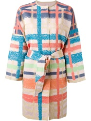 Tsumori Chisato Plaid Belted Coat Pink And Purple