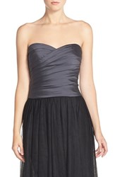 Women's Monique Lhuillier Bridesmaids Taffeta Pleat Sweetheart Neck Bustier Graphite