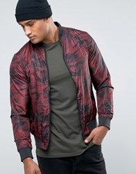 Brave Soul Camo Bomber Jacket Red