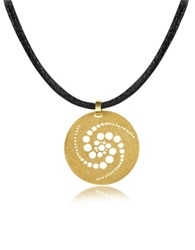Stefano Patriarchi Golden Silver Etched Crop Circle Round Pendant W Leather Lace