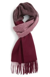 Nordstrom Men's Ombre Stripe Wool Scarf Heather Light Grey Burgundy