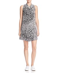 Equipment Mina Cheetah Print Silk Dress Nature White True Black