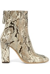 Alexandre Birman Python Ankle Boots Taupe